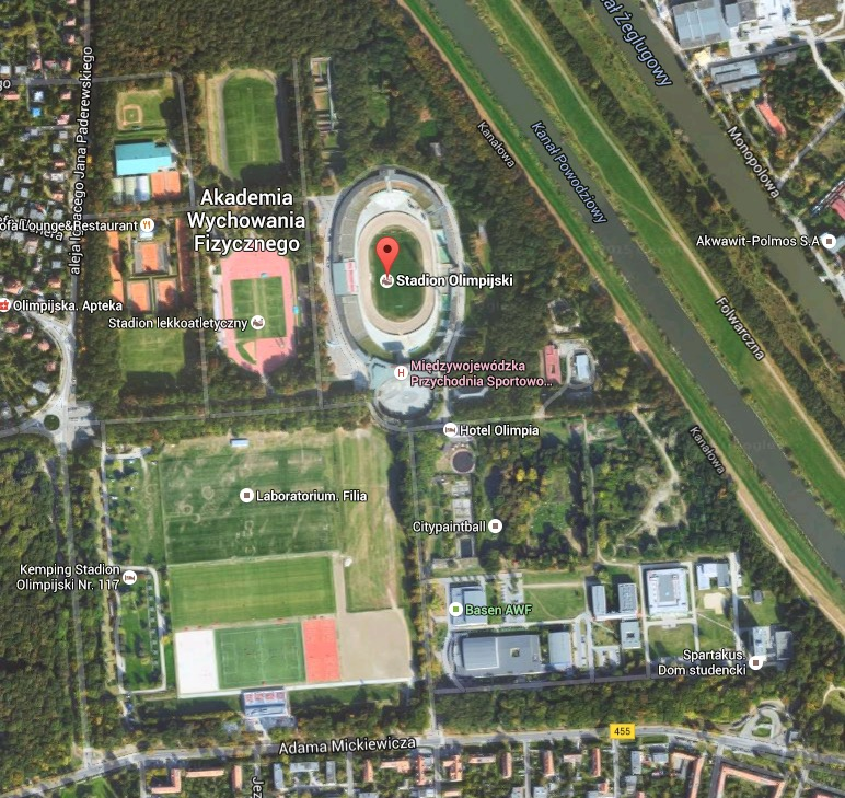 Satellite view of Olympic Stadium complex in Wrocław, Poland.