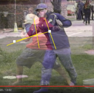 Screengrab showing overlay of expert thrower on youth thrower.